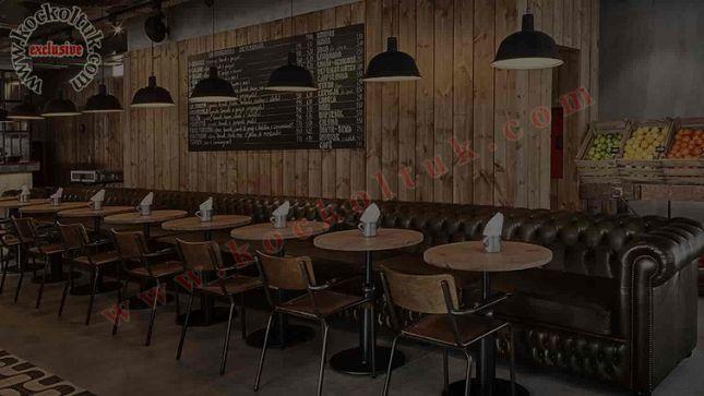 Lüks Cafe Restoran Deri Chester Koltuk Özel Ölçü Üretim
