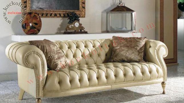 klaisk luxury chester kanepe deri krem renkli