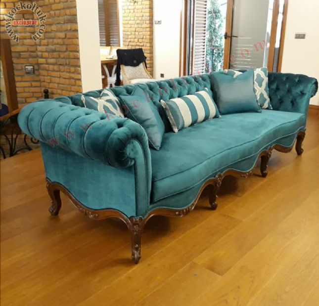 üçlü chester kanepe kadife turkuaz renkli kumaş döşeme