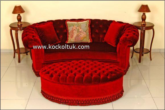kırmızı puflu chester koltuk