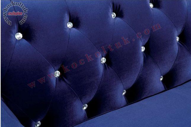 Mavi Kadife Kumaş Taşlı Chester  Kanepe