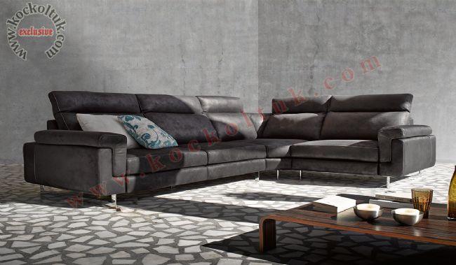 L Koltuk Takımı Antrasit Gri Renkli Luxury Modern Design
