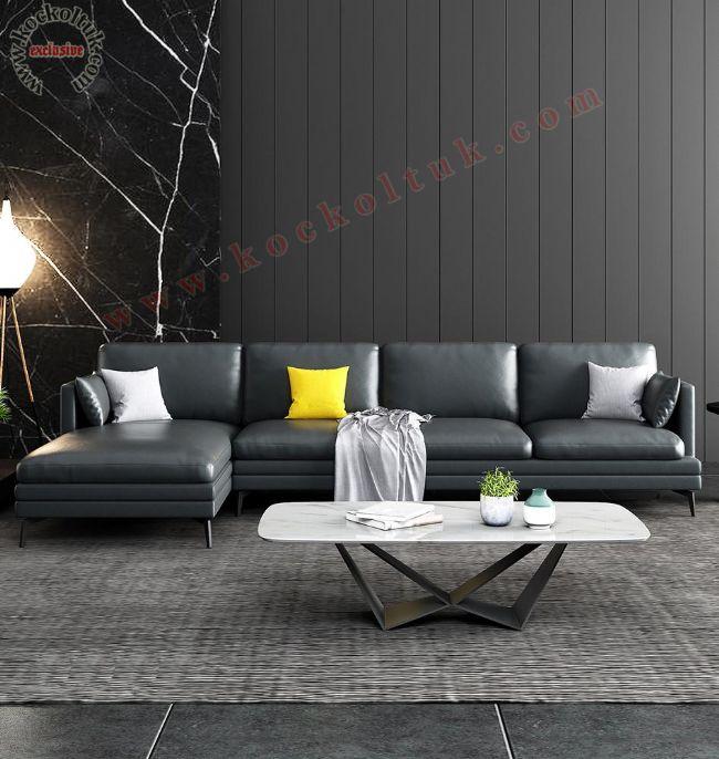 Deri L Koltuk takımı Modern luxury tasarım öze ölçü üretim L Koltuk
