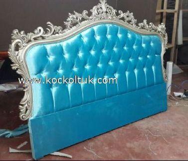 mavi kadife kumaş yatak başlığı
