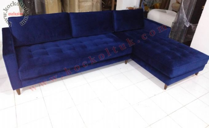 Mavi Kadife Kumaş Modern Köşe Koltuk