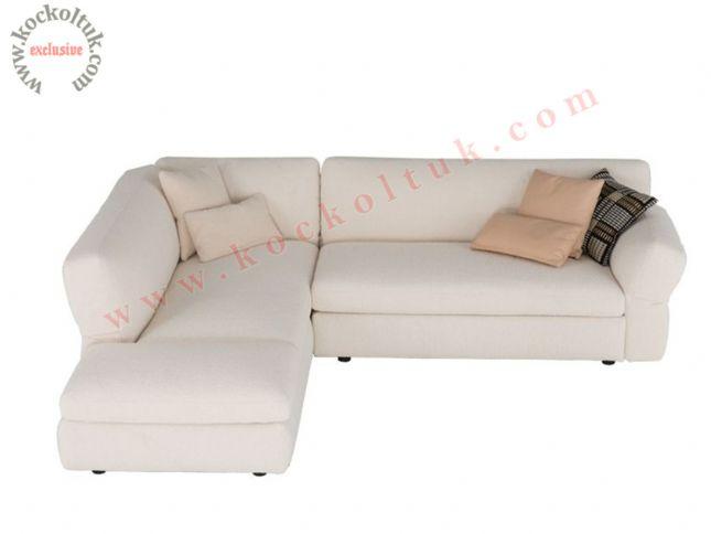 L şeklinde köşe koltuk beyaz kumaş döşeme