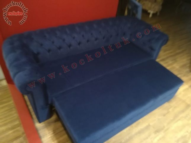 yataklı chester üçlü kanepe mavi dokuma keten