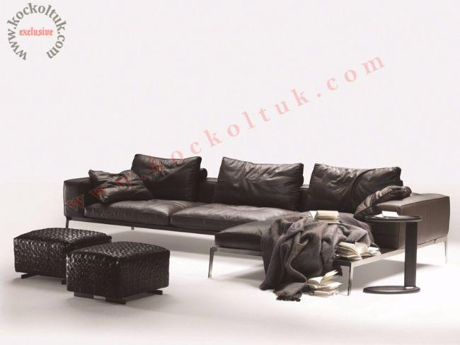 Hakiki Deri modern L Koltuk Takımı Lüks L köşe koltuk özel ölçü üretim