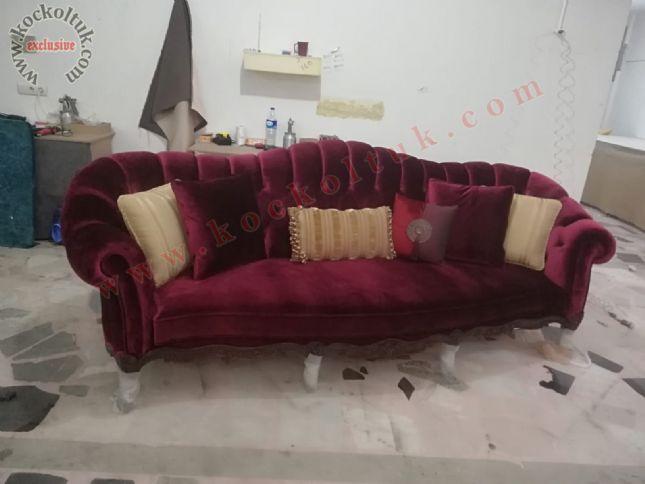 klasik art deco chester koltuk oymalı kırmızı kadife lüks