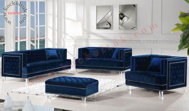 art deco modern chester koltuk takımı mavi kadife taşlı