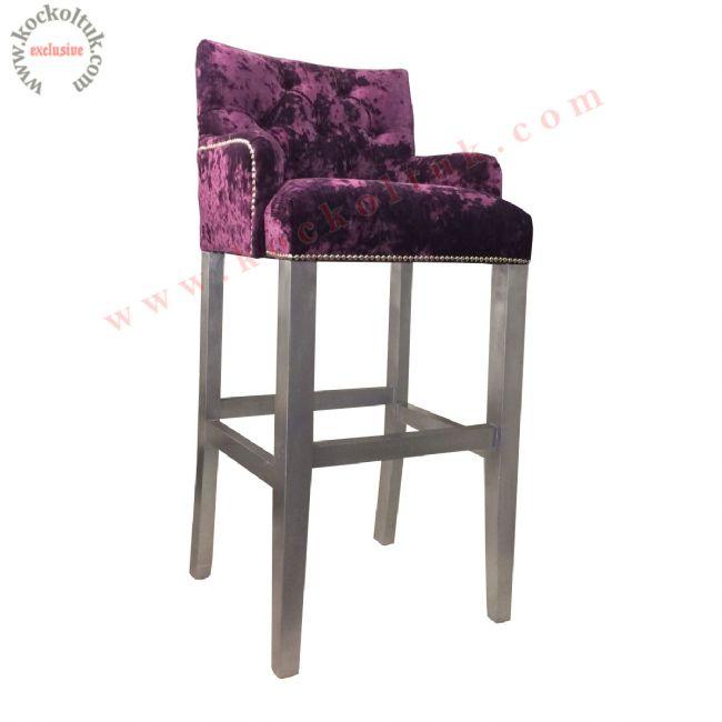 Avangart Mor Kadife Bar Sandalyesi Yüksek Sandalye