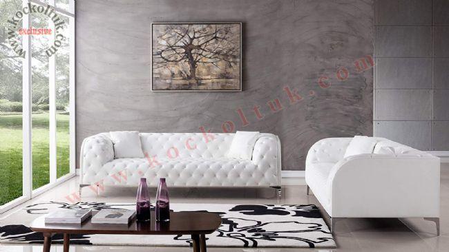 Beyaz deri chester koltuk takımı dekoratif tasarım