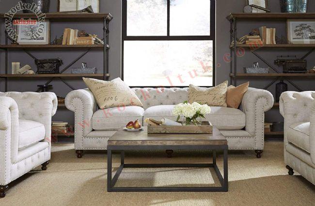 beyaz deri klasik chester koltuk takımı