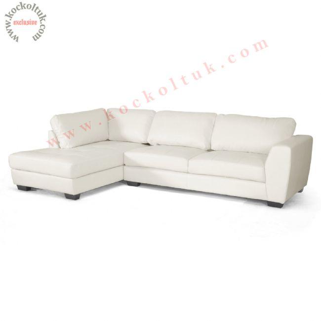 Beyaz L koltuk takımı modern tasarım