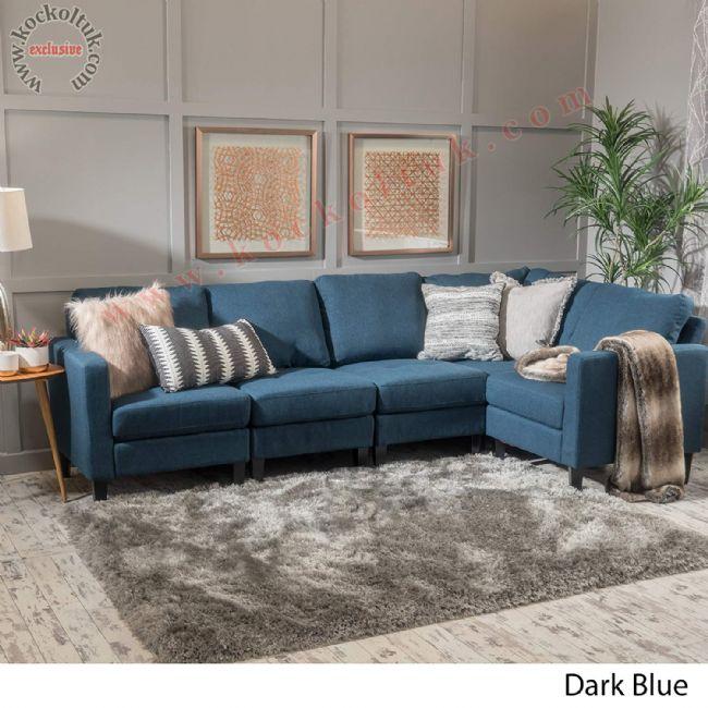Dark Blue Mavi L koltuk takımı modern keten kumaş kaplı