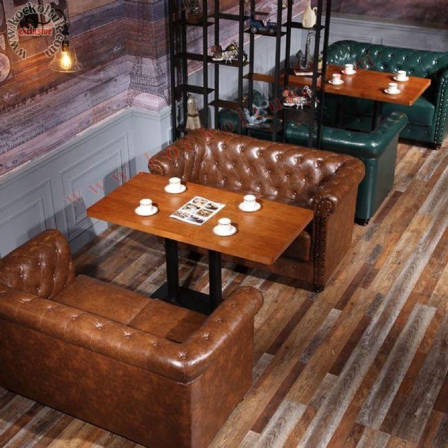 Deri Chester Koltuk Masa Lüks Restoran Tasarımı