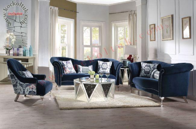 Dilimli luxury chester koltuk takımı modern mavi kadife
