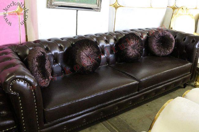 dört kişilik kanepe hakiki deri chester koltuk siyah