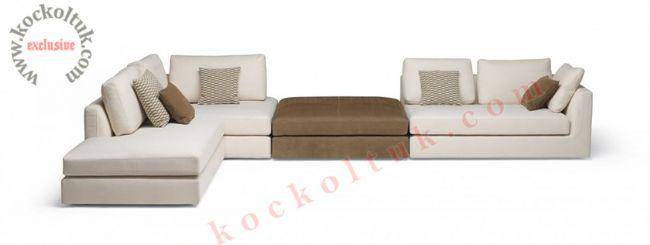 Fonksiyonel modüler L koltuk takımı modern beyaz