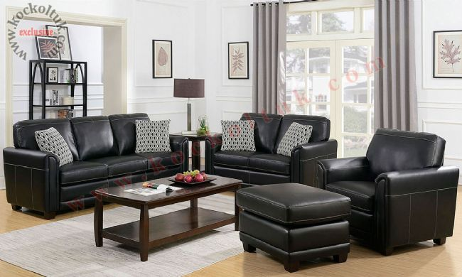 Hakiki Deri Siyah Koltuk Takımı Modern Oturma Odası