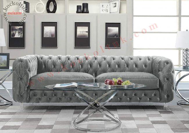 italyan chester kanepe gri kadife