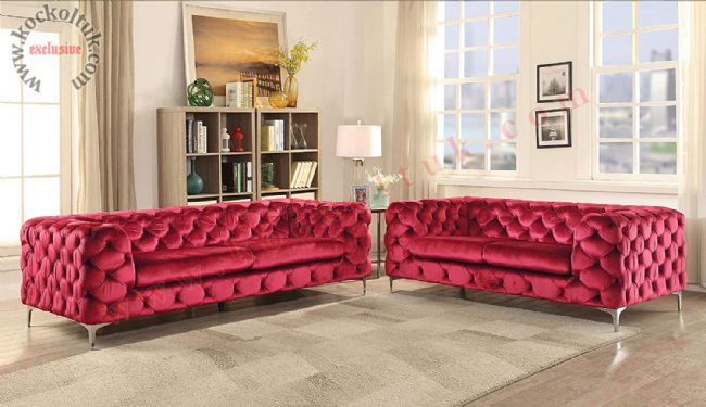 italyan chester modern koltuk takımı kadife kırmızı parlak