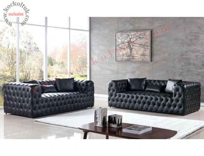 İtalyan siyah deri chester koltuk takımı modern tasarım