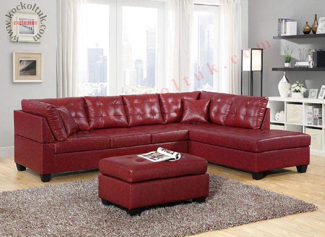 Kırmızı Deri L koltuk takımı puflu