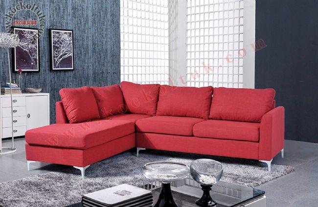 Kırmızı L koltuk takımı keten kumaş döşeli