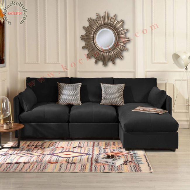 L koltuk takımı siyah renk