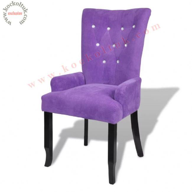 Lila modern kapitoneli sandalye