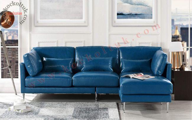 Mavi Deri kaplı modern L koltuk takımı küçük ölçü