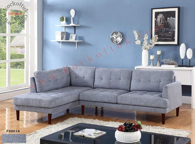 Mavi desenli kumaş kaplı modern L koltuk takımı