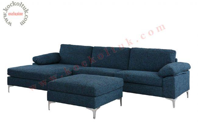 Metal ayaklı Modern L koltuk takımı mavi keten kumaş küçük