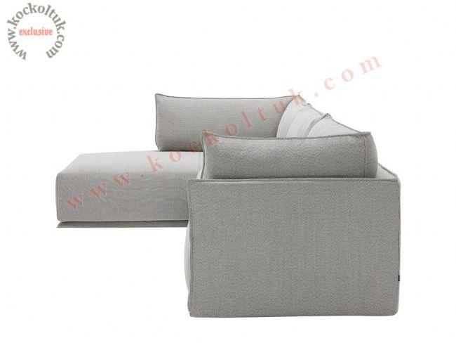 Modern köşe koltuk takımı beyaz renk yan görünüm