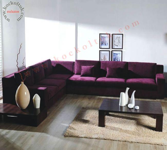Modern köşe koltuk takımı mor kumaş döşemeli L şeklinde