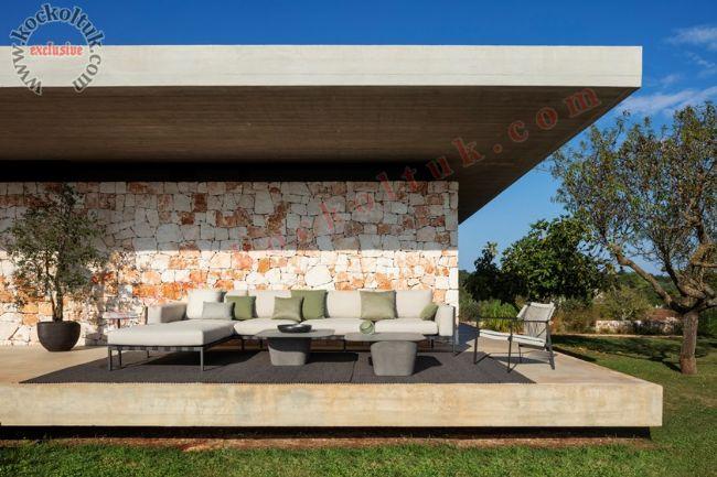 Modern köşe koltuk takımı yazlık için ideal tasarım