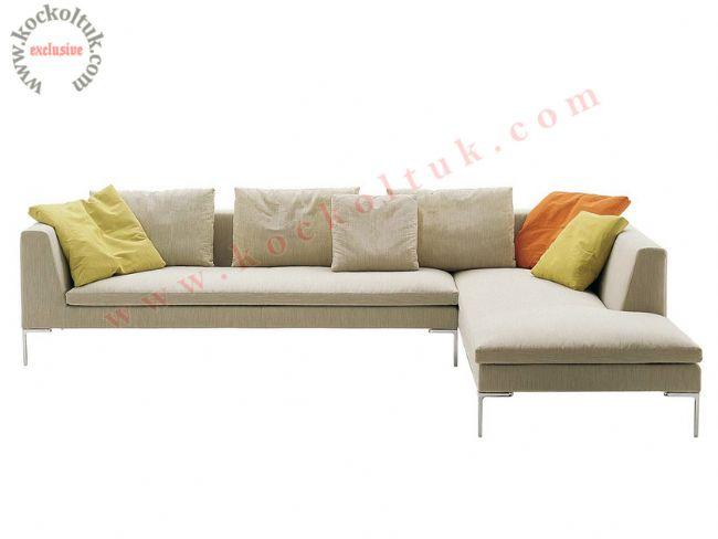 modern L köşe koltuk metal ayaklı özel ölçü üretim krem