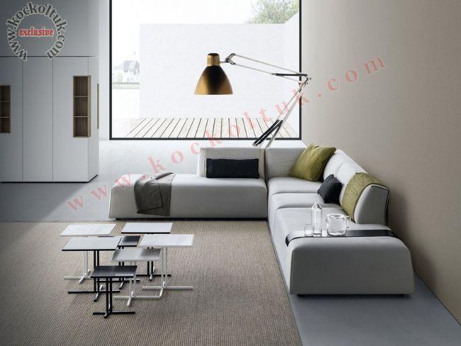 Modern Tasarım Dekor L Koltuk Takımı Beyaz Kumaş Döşeme Silinebilir Leke tutmaz