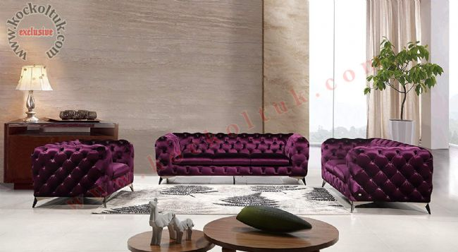 Mor kadife chester koltuk takımı modern parlak italyan