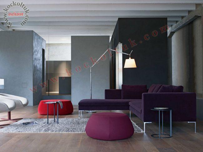 mor renkli kumaş kaplı modern köşe koltuk takımı