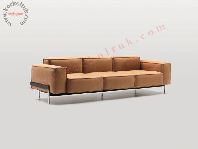 Ofis kanepe modelleri lüks tasarım deri kanepe