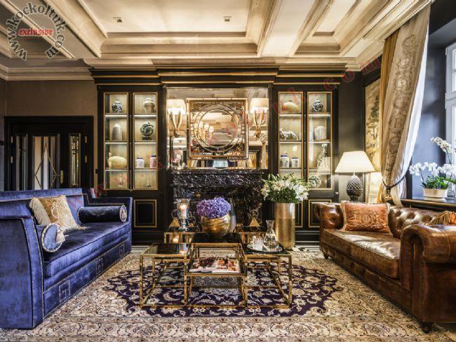 Otel Odası Lüks Koltuk Üretimi Art Deco Chester Hakiki Deri koltuk kanepe berjer bench