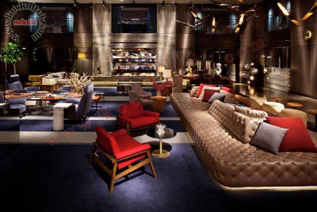Otel restoran sedir berjer koltuk masa iç mekan dekorasyonu