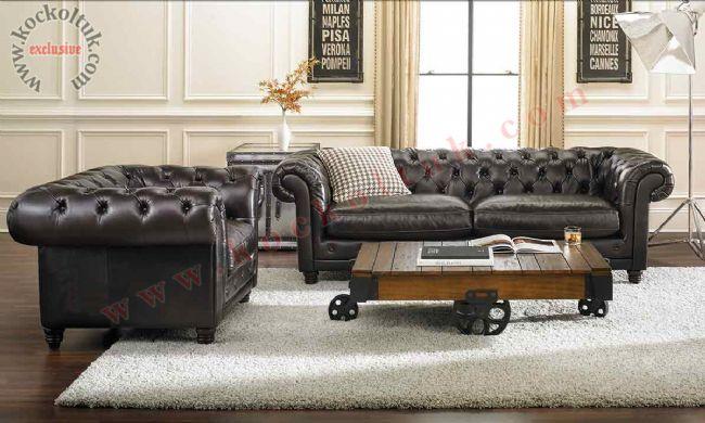 Siyah deri klasik chester koltuk takımı lobi ofis lüks