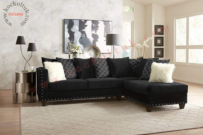 Siyah renk L koltuk takımı Desenli Bol Kırlentli L Koltuk