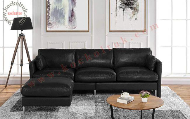 Siyah renk Puflu L koltuk takımı