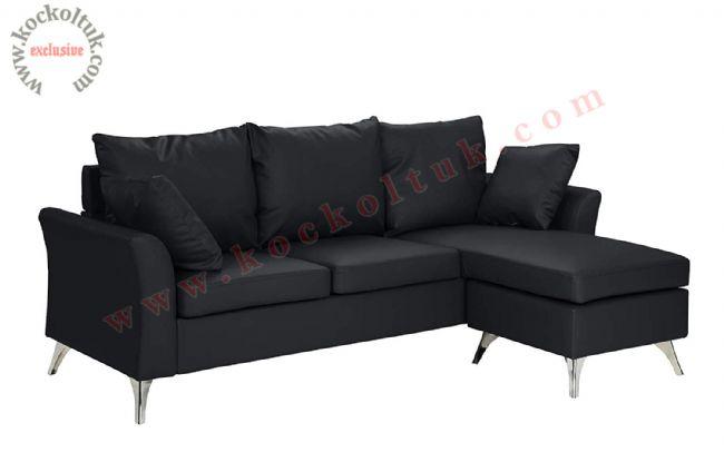 Siyah renkli Küçük L koltuk takımı modern