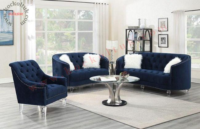 Taş işlemeli mavi chester koltuk takımı kadife kumaş