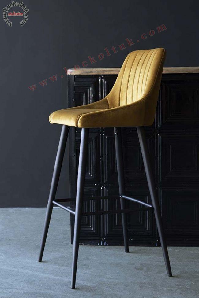 Torna Ayaklı Yüksek Bar Sandalyesi Modeli Modern Lüks